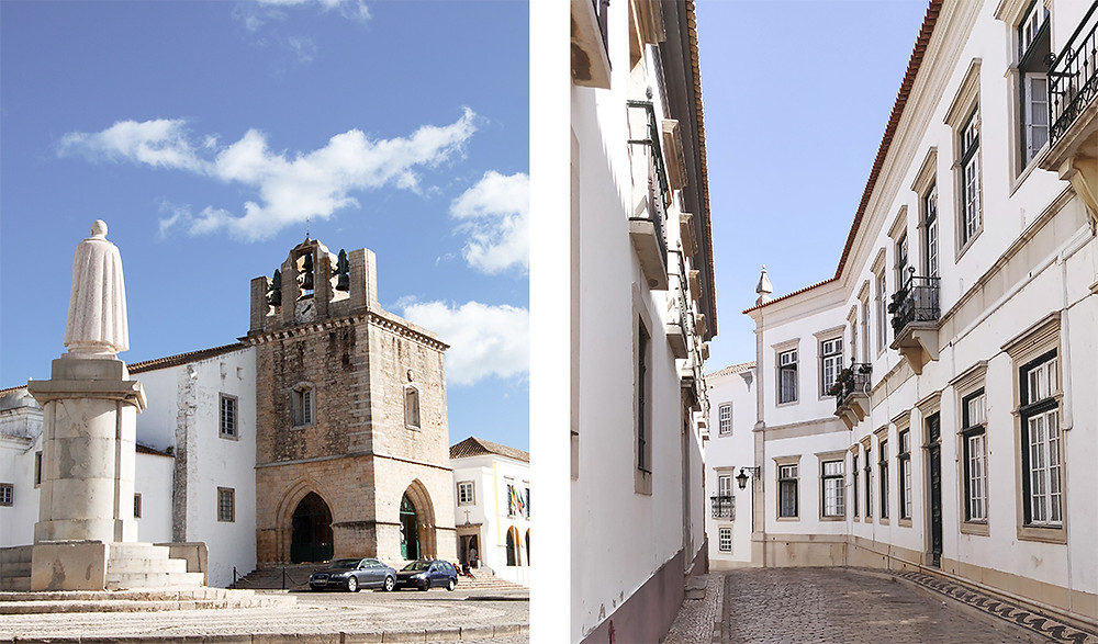 Cathedral of Faro and the Episcopal Palace square in Faro, Algarve