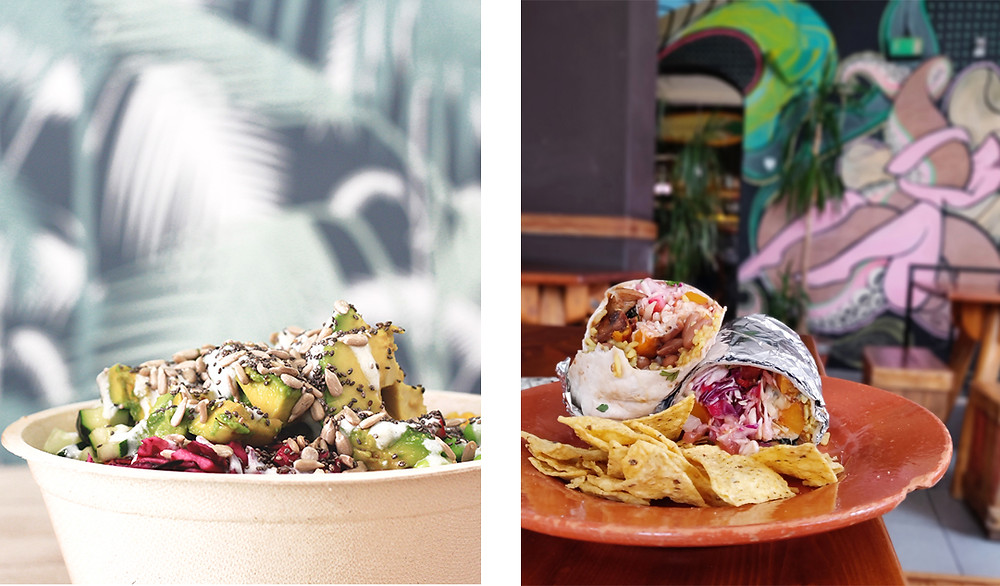 Colorful Poké bowl and vegetarian burrito from casual restaurants  in Lagos, Algarve