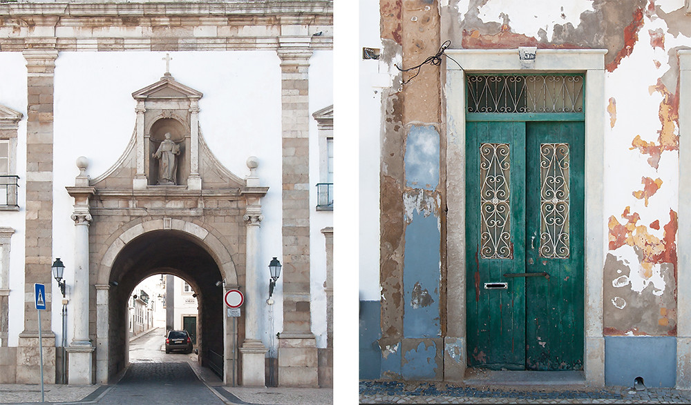 Ancient quarters, arched gateway and historical door in Faro, Algarve