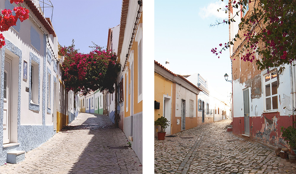 Colorful houses and pretty streets with flowers and cobblestones in Ferragudo, Algarve