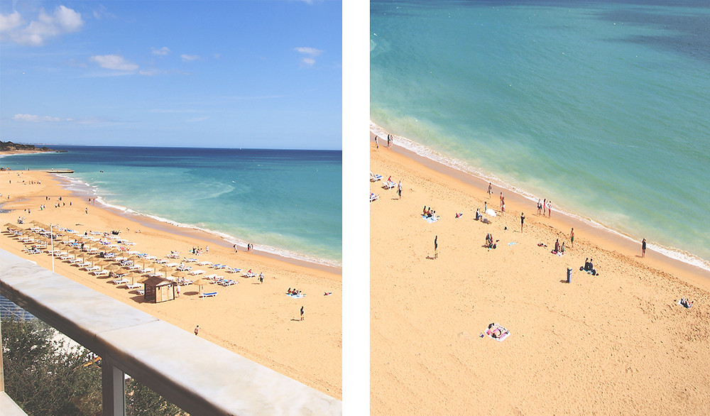 Main beach in Albufeira town, long stretch of sandy beach and clear blue water