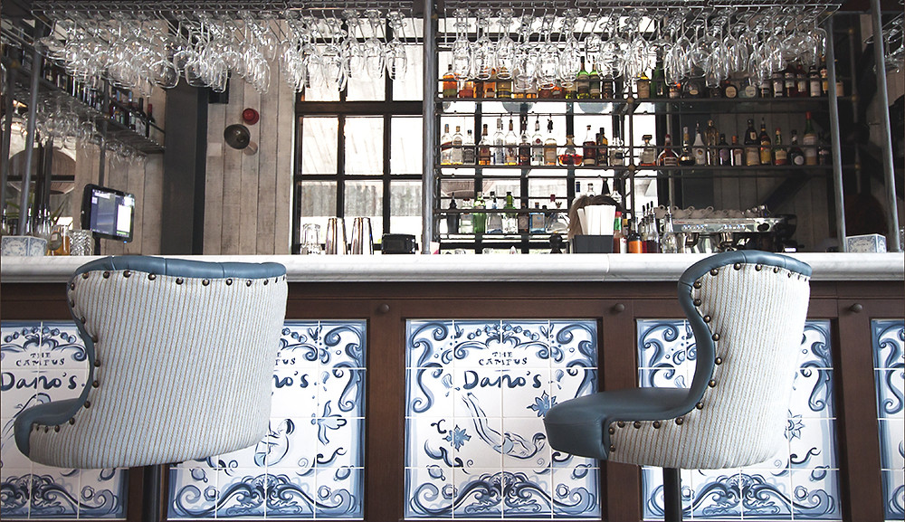 The beautiful tiled bar at Dano's - the best sports bar in the Algarve