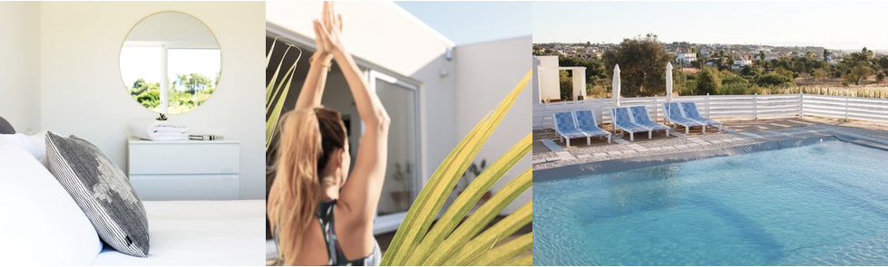 a girl doing yoga, a white bedroom and sunset by the pool