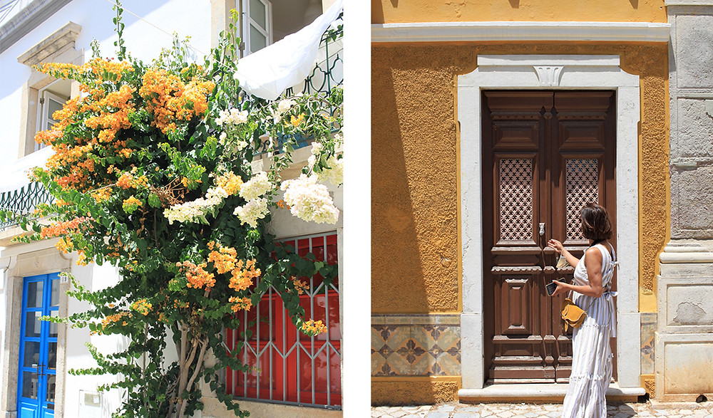 flowers growing on a house, girl outside a yellow house