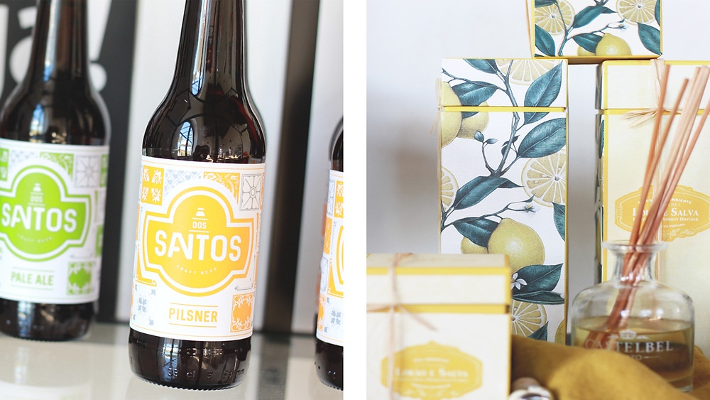 Dos Santos craft beer and home fragrance bottles at the concept store
