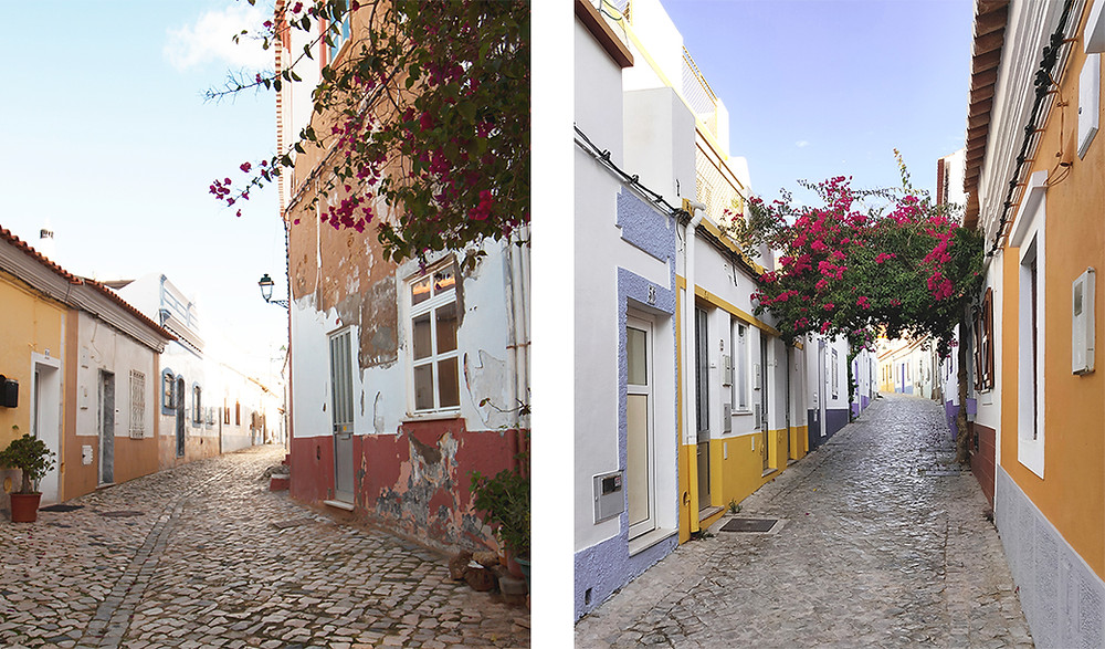 A maze of cute cobbled alleys lined with whitewashed buildings and colourful houses in Ferragudo, Algarve
