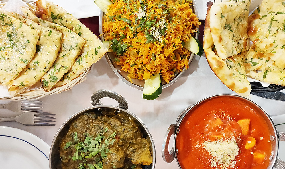 Vegetarian dishes at Clay Oven and Mother India restaurants in Albufeira, Algarve