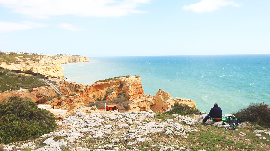 Stunning coastline, golden beaches, nature and blue sea by Algar seco, Carvoeiro, Algarve