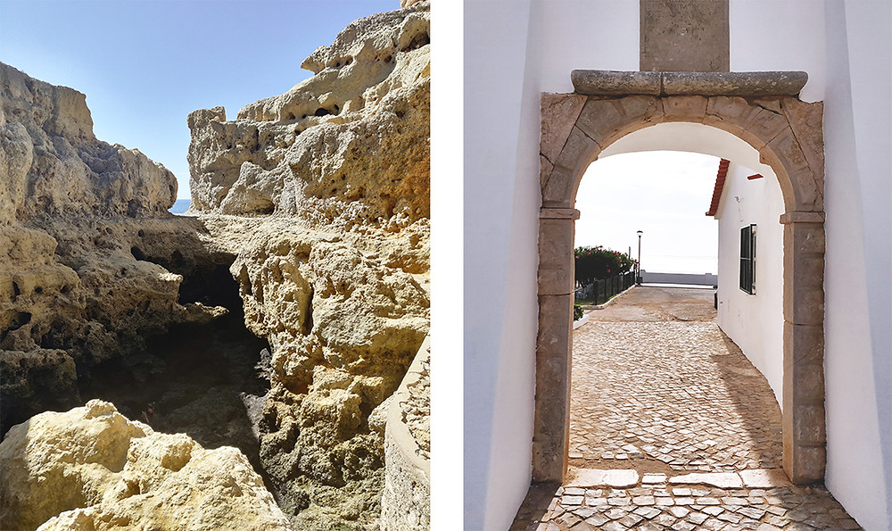 Stone cliffs and a arched door at Algar seco viewpoint in Algarve