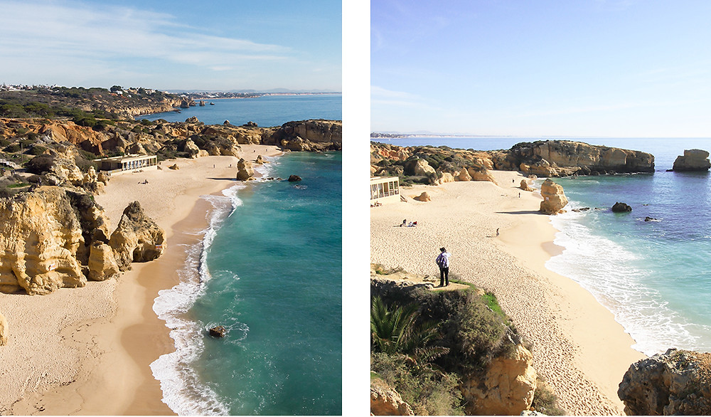 Views of stunning cliffs, beaches and Atlantic ocean during our hike in Albufeira, Algarve
