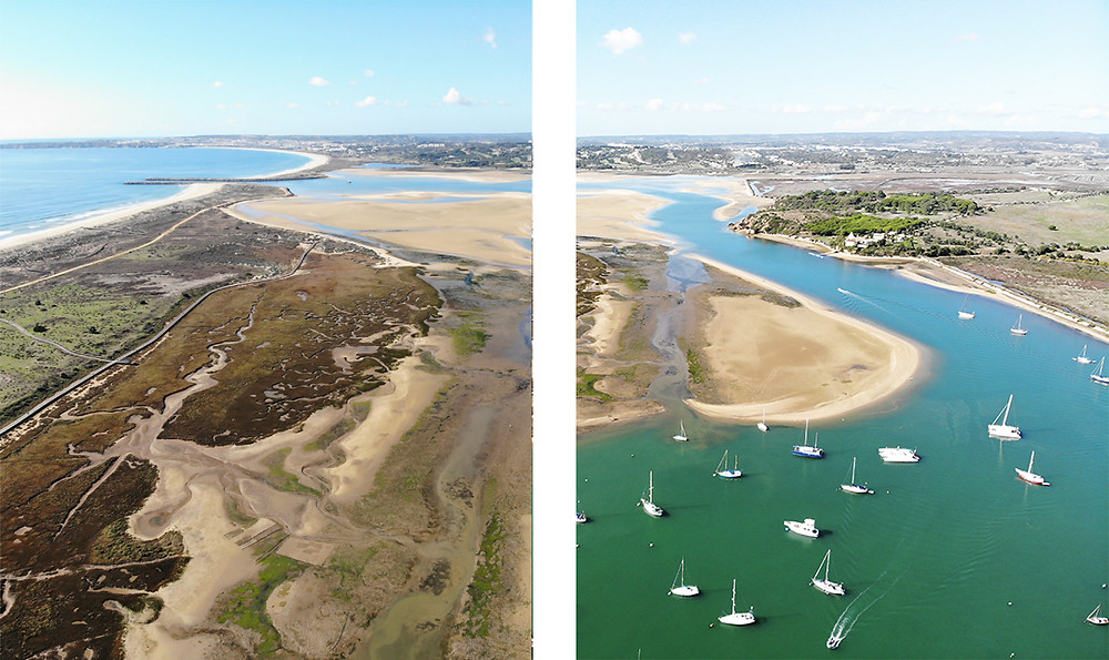 The nature reserve of Ria de Alvor with sandbank islands, nature, birds, boats, river in Alvor, Algarve