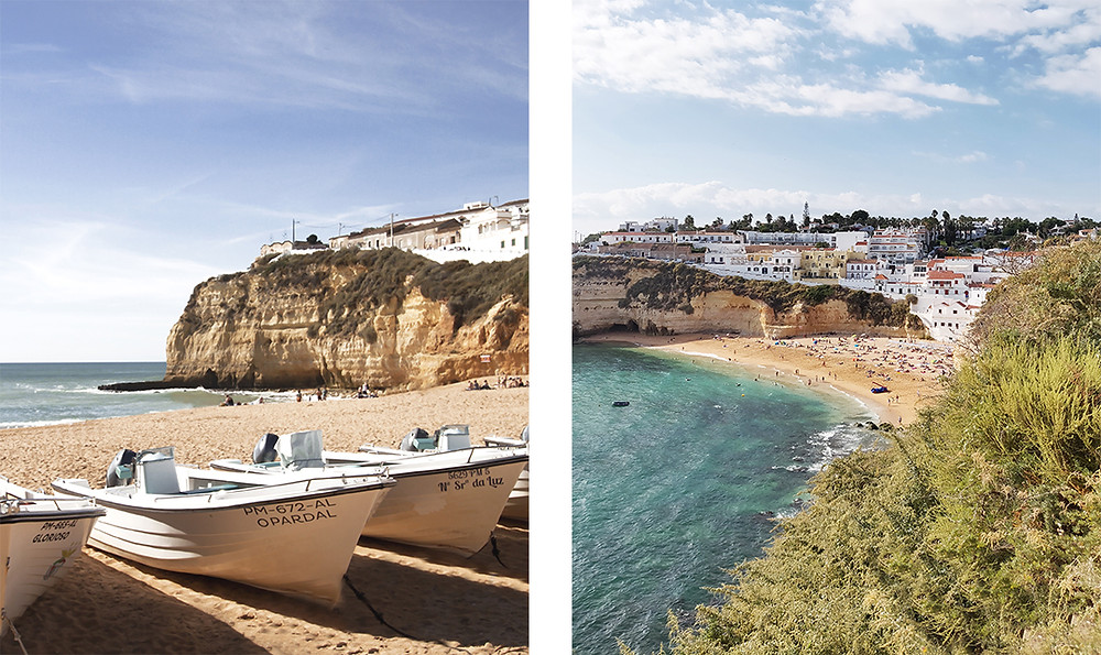 Carvoeiro beach, a small scenic beach, surrounded by stunning cliffs and colourful houses