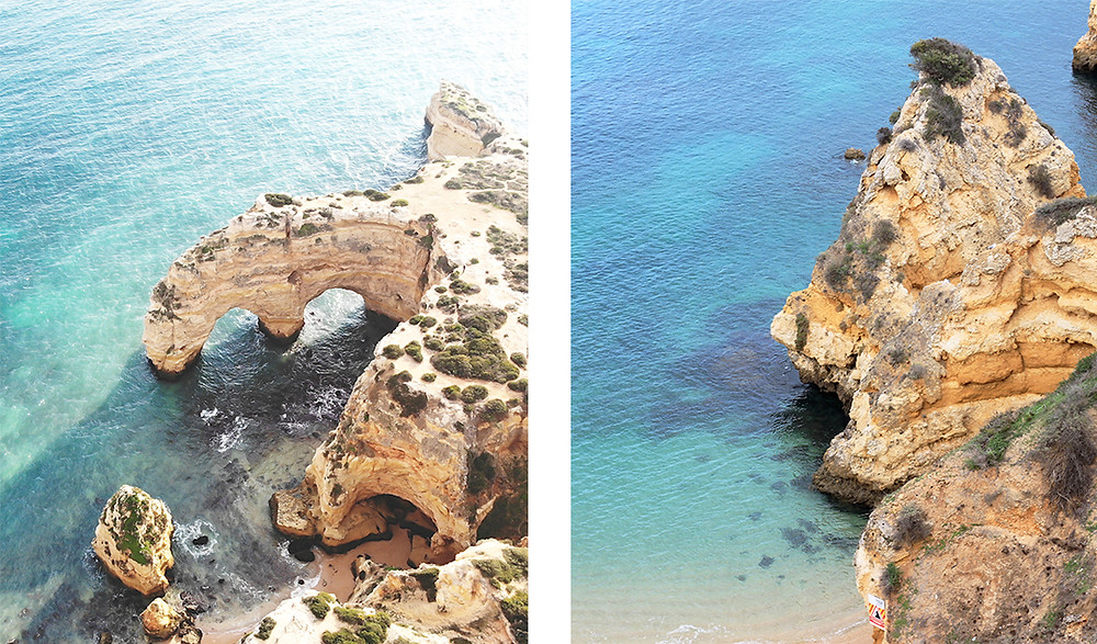 limestone cliffs and clear blue water in the Algarve