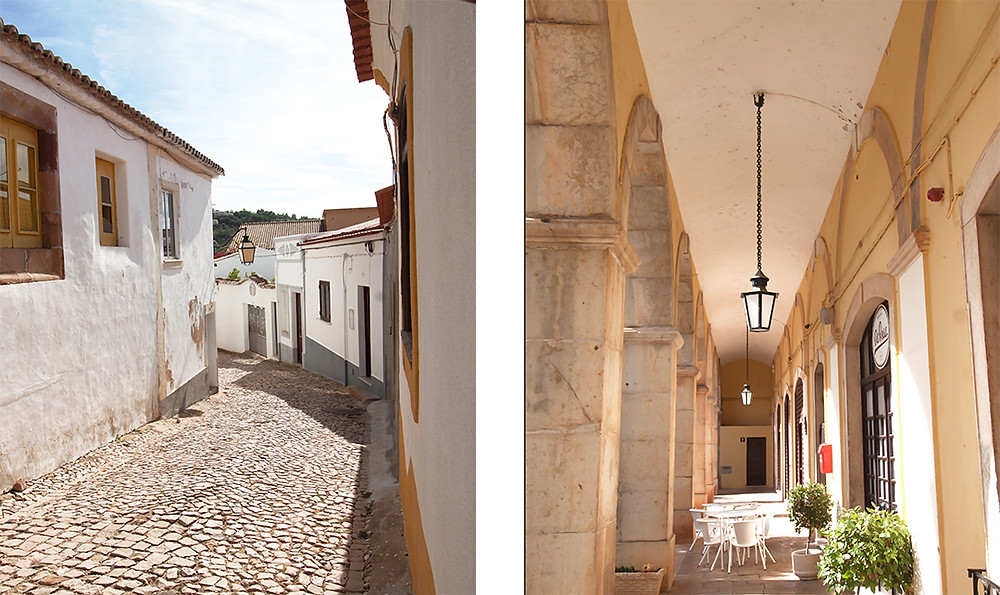 Cute streets with whitewashed houses and a wonderful café in Silves, Algarve