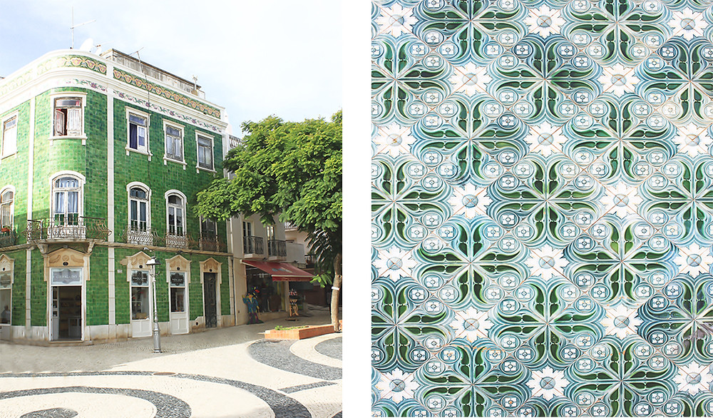 Pretty buildings with traditional Portuguese tiles in old town Lagos, Algarve