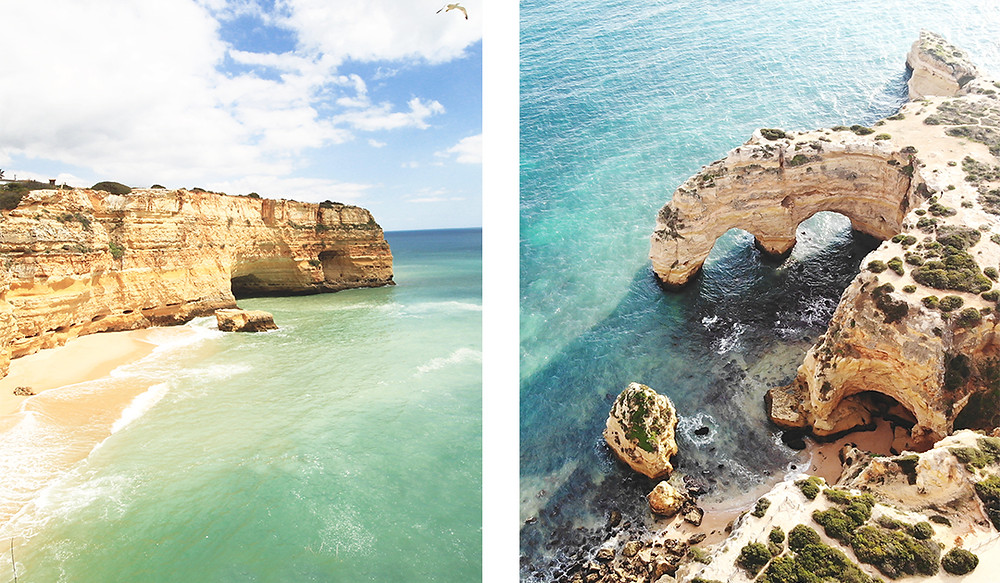 Limestone cliffs, caves and rock formation at Praia da Marinha, Algarve