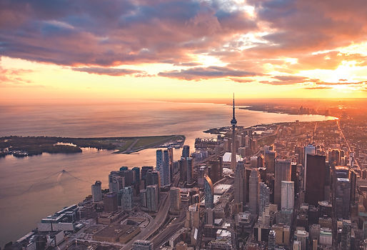 An aerial view of the Toronto skyline at