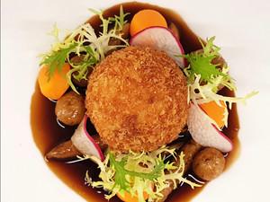 Recipe: Crispy Turkey Ball with Bread-Based Pasta and Mushroom Sauce from Fairmont Quasar Istanbul