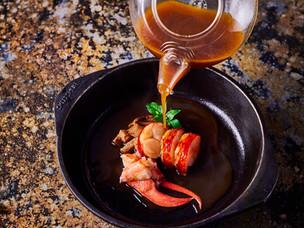 Recipe: Grilled lobster, broth, pickled mushrooms & porcini from chef Niklas Ekstedt