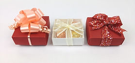 Linen ballotin boxes for chocolates with ribbon