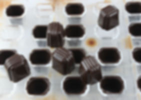 Freshly made Hazelnut Caramel chocolates sitting on a chocolate mould