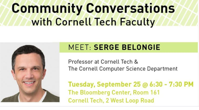 Community Conversations with Cornell Tech Faculty | 9.23.18