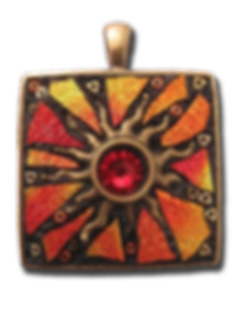 Red and Orange dichroic glass sun pendant