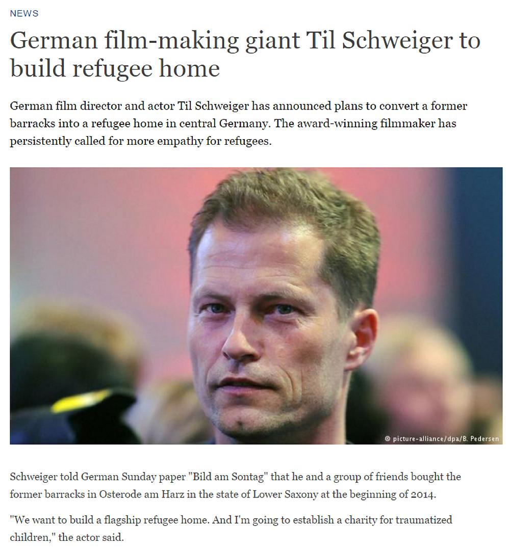 Til Schweiger 關注國際難民議題  (新聞圖片來源:DW)