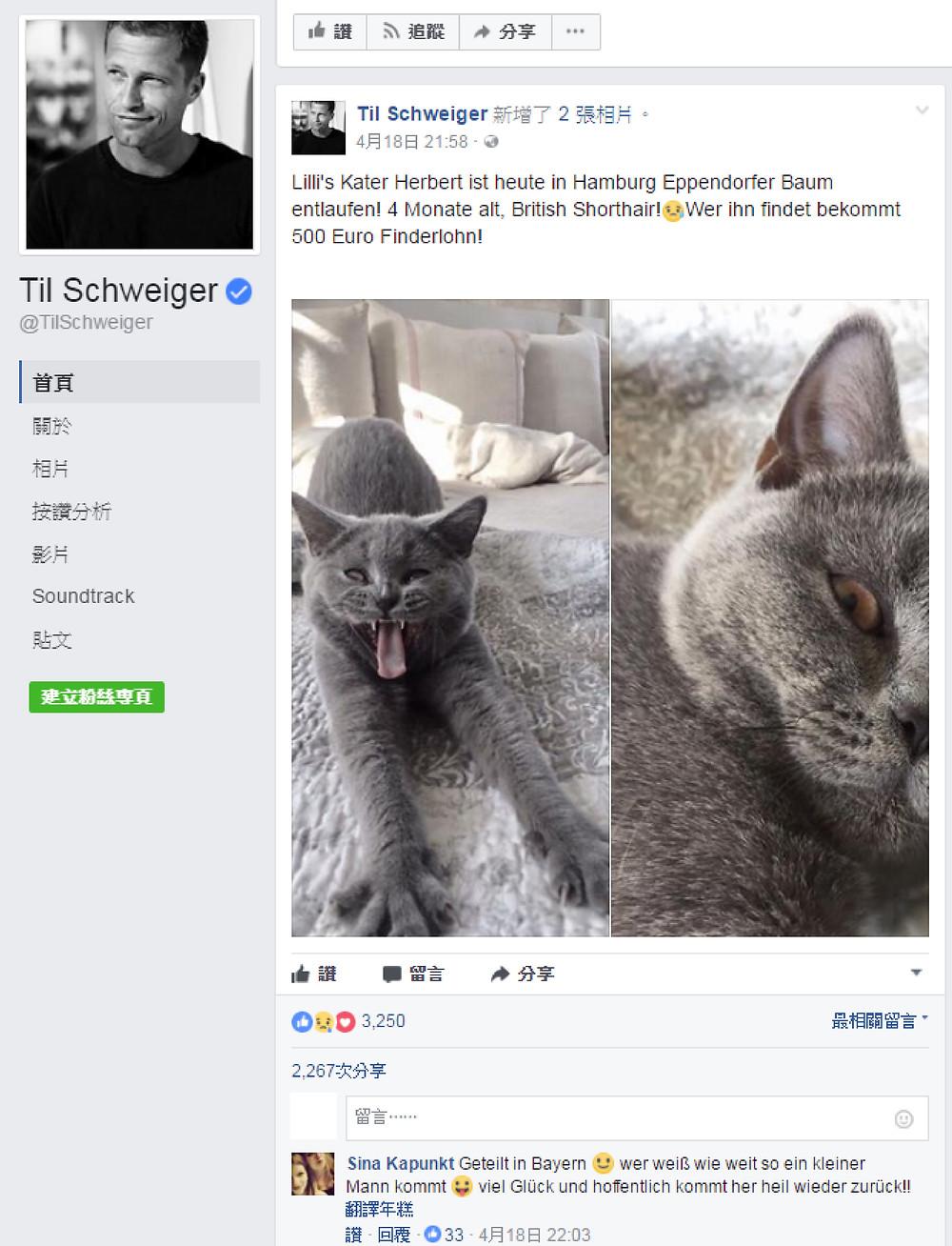愛護動物   (圖片來源:Til Schweiger / facebook)