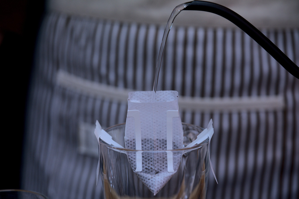 hand drip filter pouring water