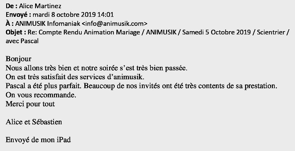 mariage à Scientrier avec Animusik Octobre 2019