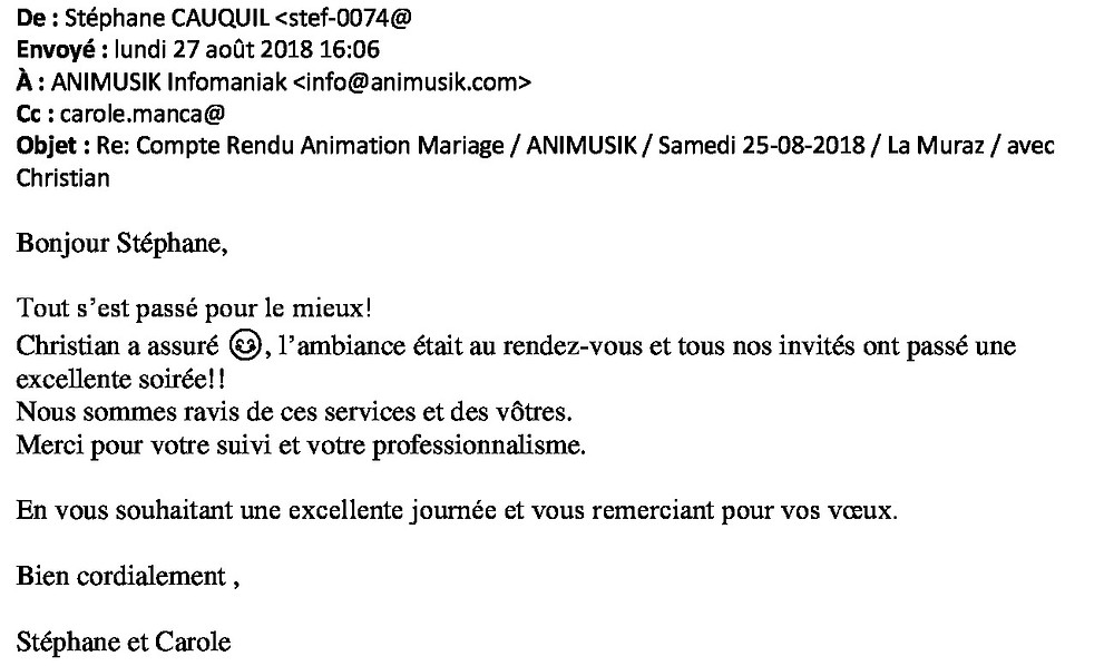 mariage à La Muraz été 2018 avec animusik