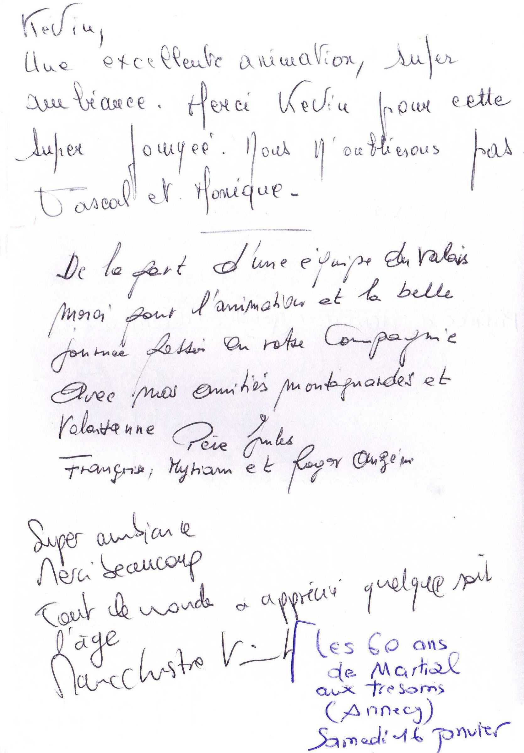 Les 60 ans de Martial VIONNET aux TRESOMS d' ANNECY Samedi 16 Janvier 2016 1