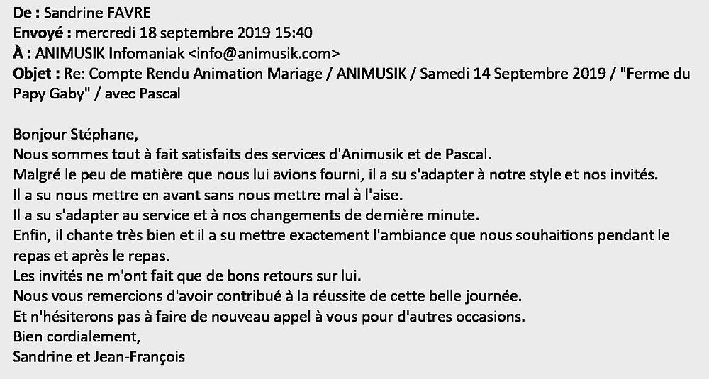 mariage Ferme du Papy Gaby Animusik Septembre 2019