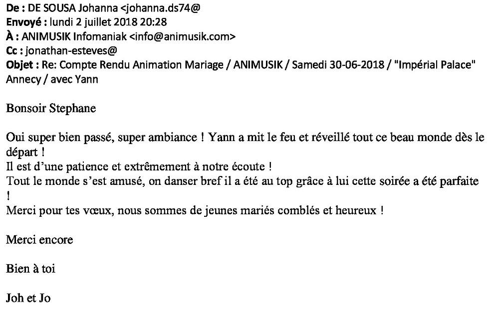 Mariage avec animusik à l'impérial palace Annecy