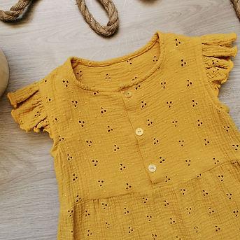 couture création vêtements bébés enfants valence auvergne Rhône alpes robe en double gaze