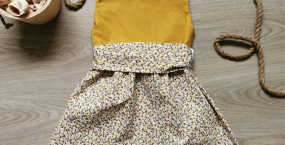 Robe Enora moutarde et feuilles 9mois/7ans