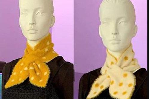 Polka Dot Scarf - Mustard / White