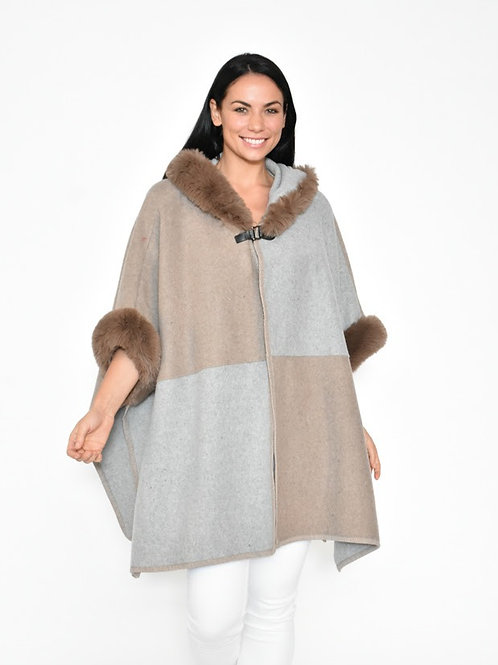 Fur Cape  Beige / Grey