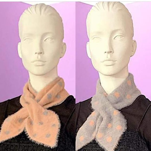 Scarf Polka Dot - Grey /Pink