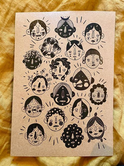 Mask Sketches Print - A4