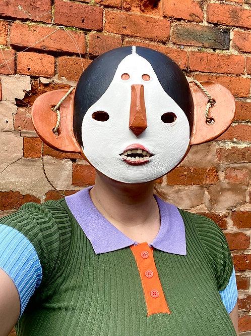 Gofun Painted Noh Inspired Mask
