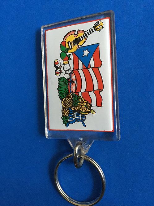 Key Chain - Flag & Cuatro - Puerto Rico - Llavero con bandera de P.R.
