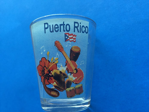 Shot Glass - Puerto Rico with flag - Vasito de Puerto Rico con bandera