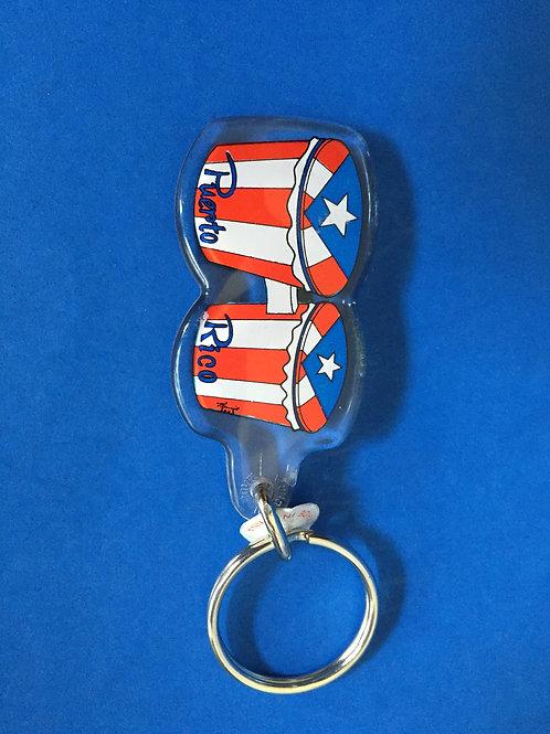 """Key chain """"Bongos"""" & Puerto Rico Flag - Llavero """"Bongos"""" Y Bandera P.R."""