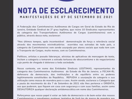 NOTA DE ESCLARECIMENTO SOBRE AS MANIFESTAÇÕES DE 7 DE SETEMBRO