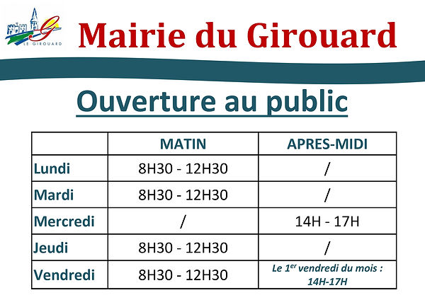 Modification horaires mairie AU 01022021