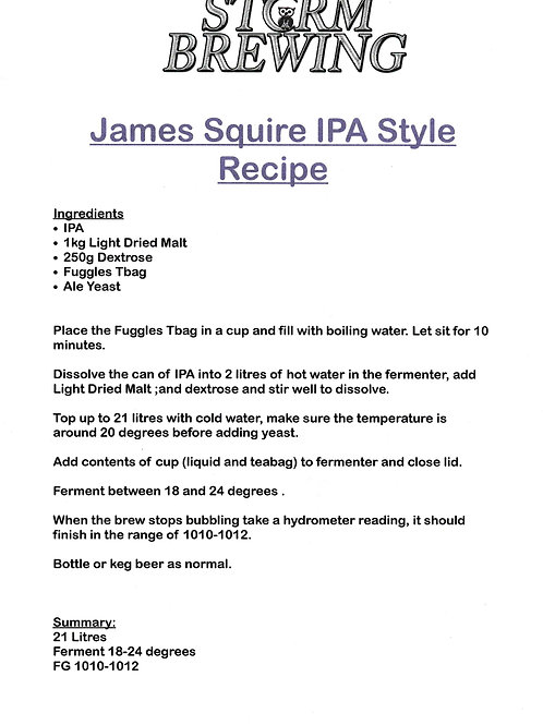 James Squire IPA Recipe Kit