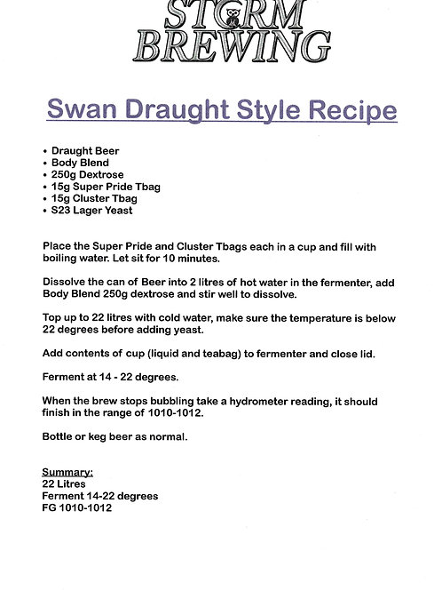 Swan Draught Recipe Kit