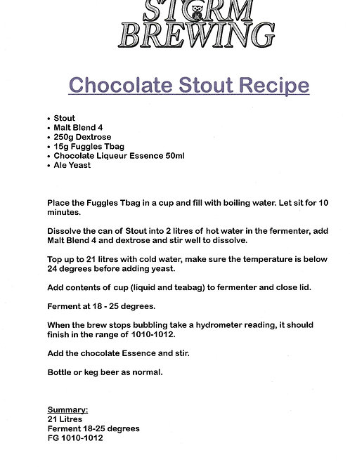 Chocolate Stout Recipe Kit